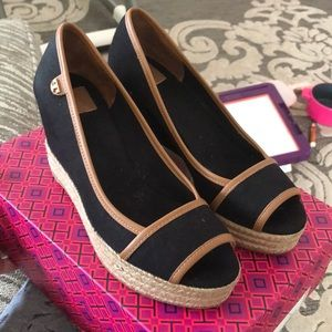 100% Authentic Tory Burch Black Espadrille Wedges